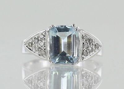 18ct White Gold Art Deco Style Aquamarine And Diamond Dress Ring Ref151 Ebay