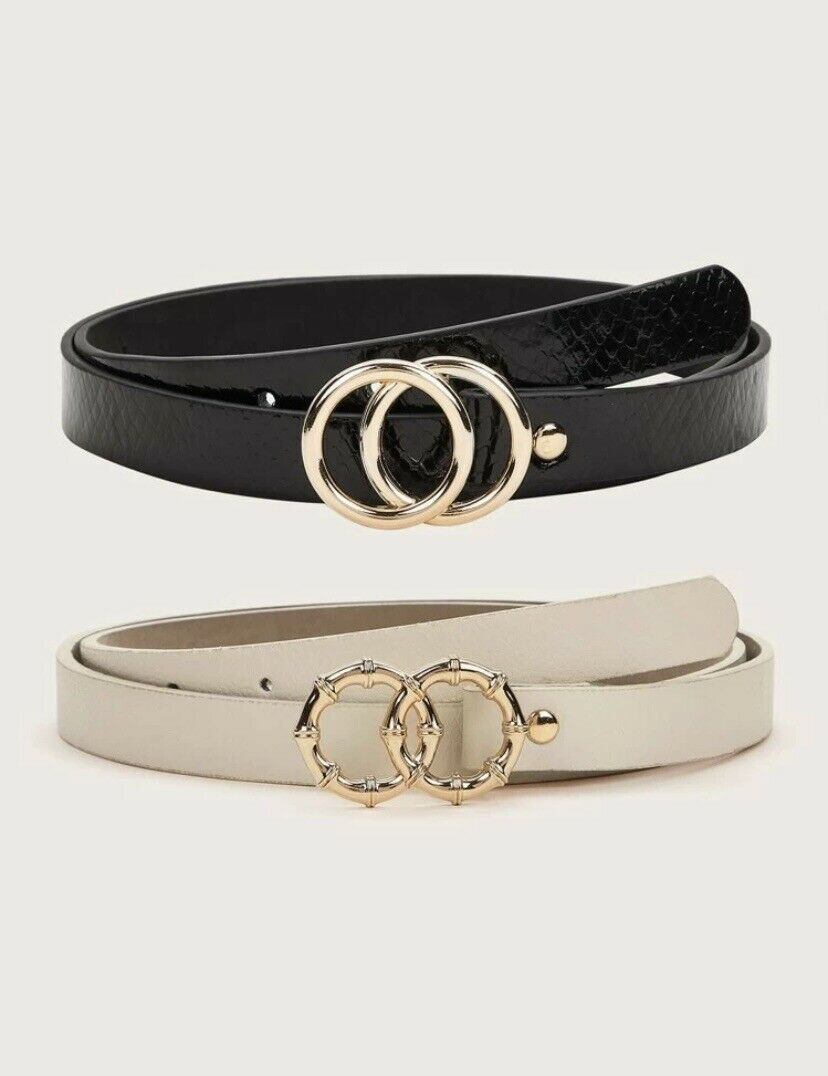 New Two Pieces Double O-Ring Buckle Belt Multicolor