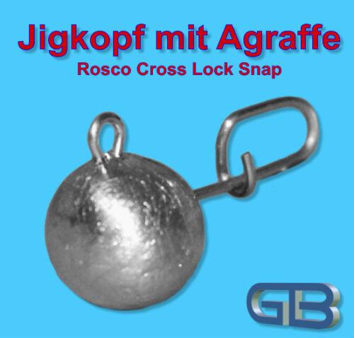 5 x Flexi Bleikof 10g  Jigkopf mit Agraffe Rosco Cross Rundkopf Twister