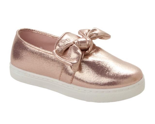 387196ec112bb GIRLS ROSE GOLD GLITTER SLIP ON WALKING PUMPS TRAINERS SHOES KIDS UK SIZE  13-5