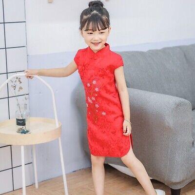 Chinesisch Kinder Mädchen China Rot Kirschblüten Qipao Cheongsam Kleid gcd12