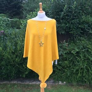 LADIES-MUSTARD-PONCHO-WITH-POM-POMS-WOOL-BLEND-ONE-SIZE