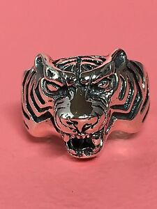 925-Sterling-Silver-Animal-Tiger-Face-Head-Ring-Band
