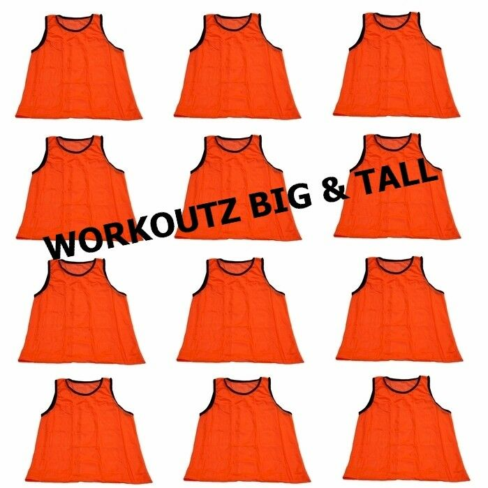 SET OF 12 - WORKOUTZ BIG AND TALL (orange) SCRIMMAGE VESTS SOCCER PINNIES