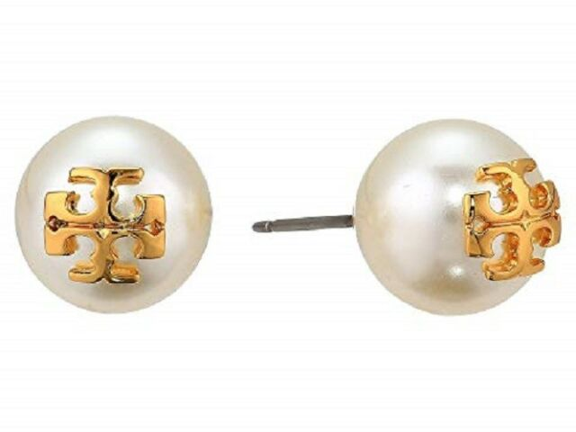 f12fe1b888ad TORY BURCH 16K Shiny Gold Plated Ivory Crystal Pearl Stud Earrings + Dust  Bag