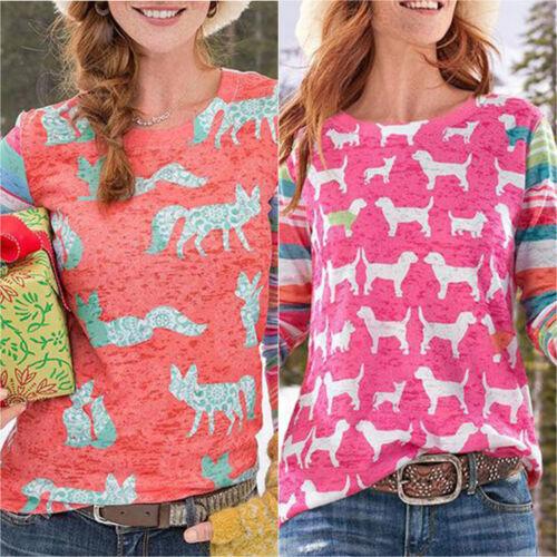 Damen Shirts Langarm Pullover T-Shirt Pulli Sweatshirt Bluse Tops Freizeitshirt
