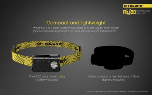 Nitecore NU20 rechargeable 360 Lm Léger DEL Projecteur-Noir