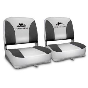 Seamanship-2X-Folding-Boat-Seats-Seat-Marine-Seating-Set-All-Weather-Swivel-Grey