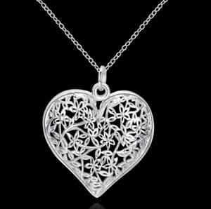 Damen Halskette mit Herz Anhänger Floral Muster Blume Blüte Edel 925 Silber Pl