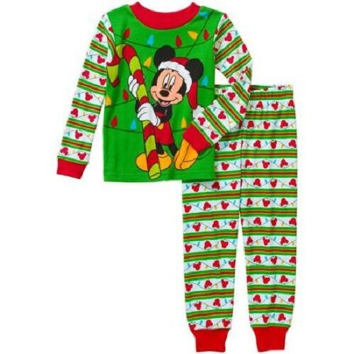 Disney Mickey Mouse Christmas Pajama Set Cotton Toddler Boys Various Sizes NWT