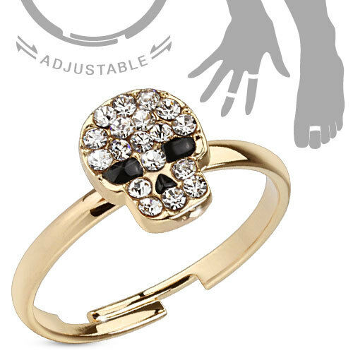 Zehenring /& Fingerring verstellbar Gold plattiert Kristall Totenkopf schwarz
