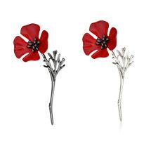 Poppy Vintage Brooch Red Crystal Flower Badge Pins Poppies Broach JewelrHFUK
