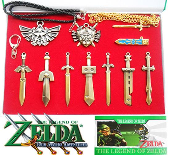 10pcs Legend of Zelda Link Shield Links Sword Necklace Pendant keychain gift box
