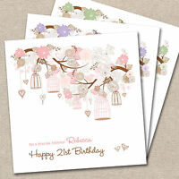 Personalised Handmade Birthday Card Birdcages 18th 21st 30th 40th 50th 60th 70th