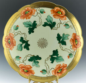 VIENNA-12-3-4-034-HAND-PAINTED-POPPIES-CHARGER-PLATE