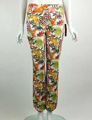Joseph Ribkoff Lydia Capri Crop Pants Multi Floral Pull On Style Size 8 New