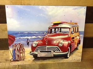 SW-SURFIN-USA-Beach-Woody-Sign-Tin-Vintage-Garage-Bar-Decor-Old-Rustic