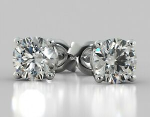 4-Ct-Round-Earrings-Studs-Real-14K-White-Gold-Brilliant-Cut-Push-Back