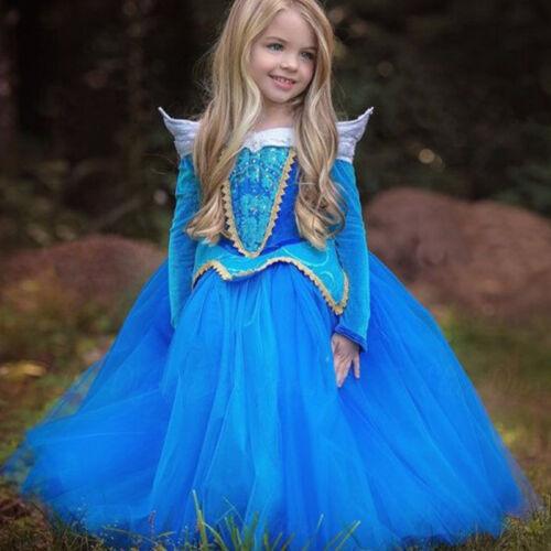 Mädchen Kleid Frozen Prinzessin Cosplay Party Formal Kostüm Fasching Karneval