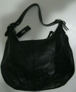 NEW-DKNY-Black-Soft-Leather-Medium-Hobo-Bag-Purse-Shoulder-Bag-175-00