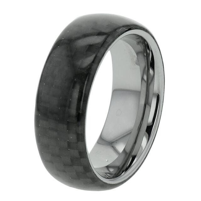 8mm Tungsten Carbide Red /& Black Carbon Fiber Inlay Men/'s Wedding Band Dome Top