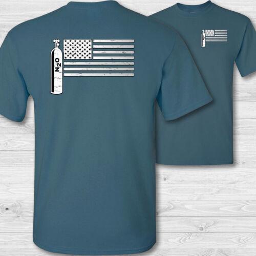 USA Nitrous Racing Flag T-Shirt American nitrous tee shirt n2o racing shirt W