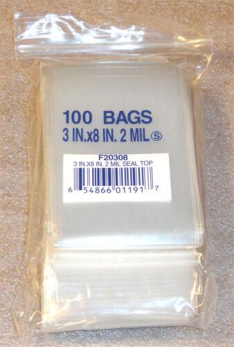 "100,200,300,400,500,1000 3/""X8/"" 2 Mil Poly Clear Ziplock Zipper Ziploc Bags"
