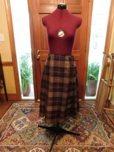 VINTAGE IRISH PLAID PLEATED WRAP SKIRT BROWNS & TA