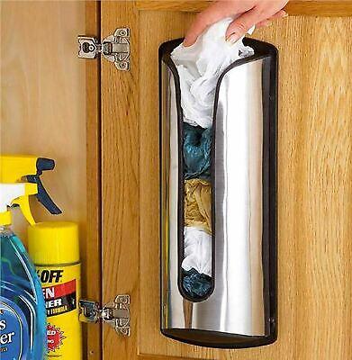 Plastic Carrier Bag Storage Titolare Dispenser Negozio Riciclaggio Sacchetti In Acciaio Inox-mostra Il Titolo Originale Facile E Semplice Da Gestire