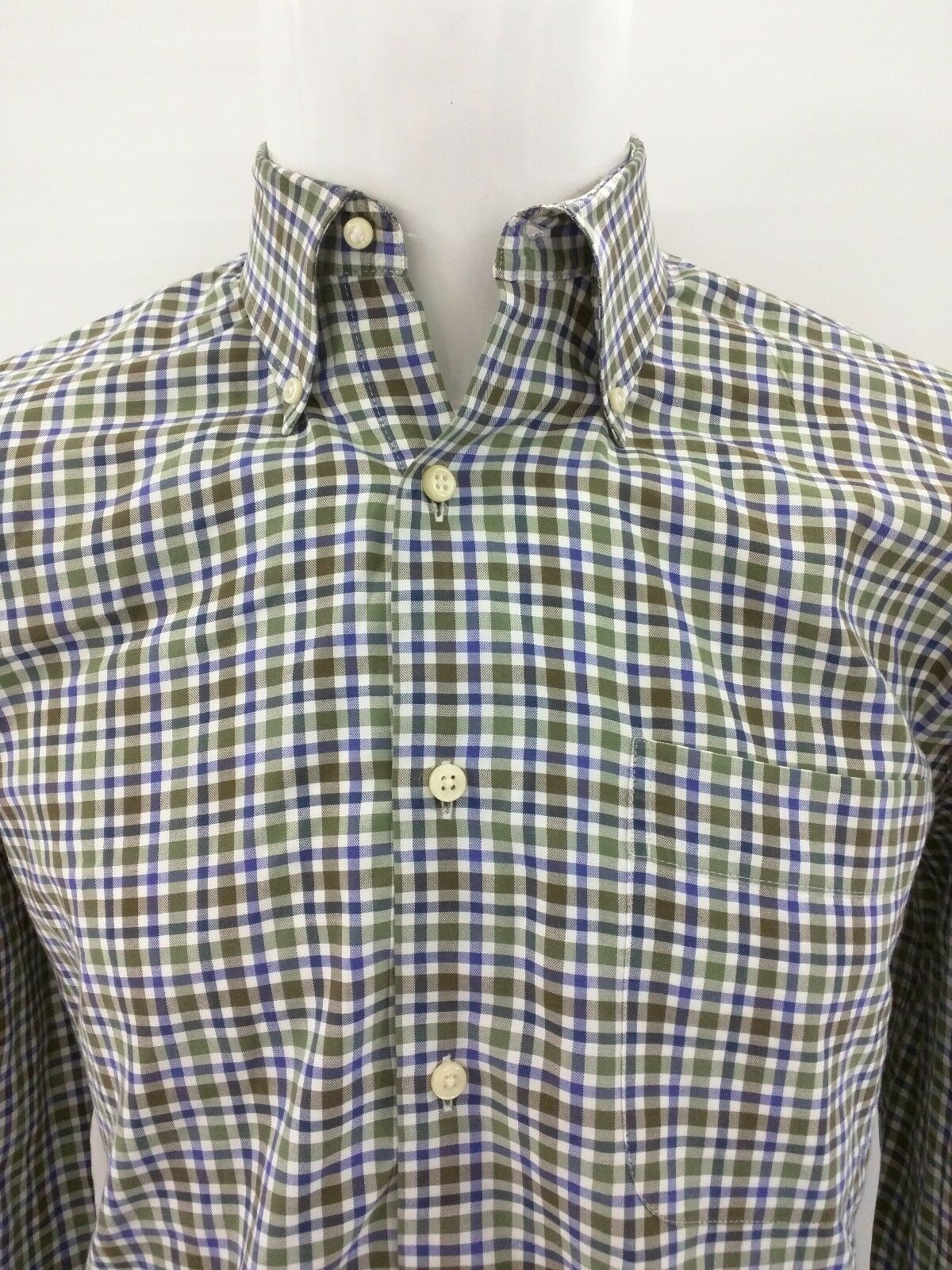 Peter Millar Mens Button-up Brown Green bluee Plaid Shirt Mens Size Medium