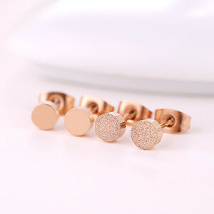 Women-Man-18K-Rose-Gold-GP-Polished-Frosted-5mm-Cute-Round-Shaped-Stud-Earrings