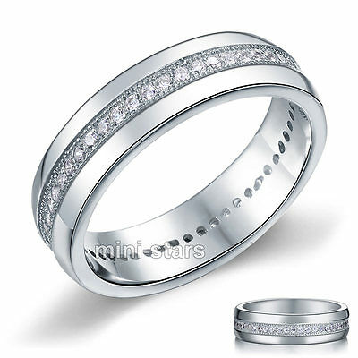 Sterling 925 Silver Ring Round Cut Created Diamond Men's Wedding Band FR8068