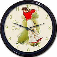 Golf Victorian Lady Tee Time Wall Clock Golf Vintage Look 10