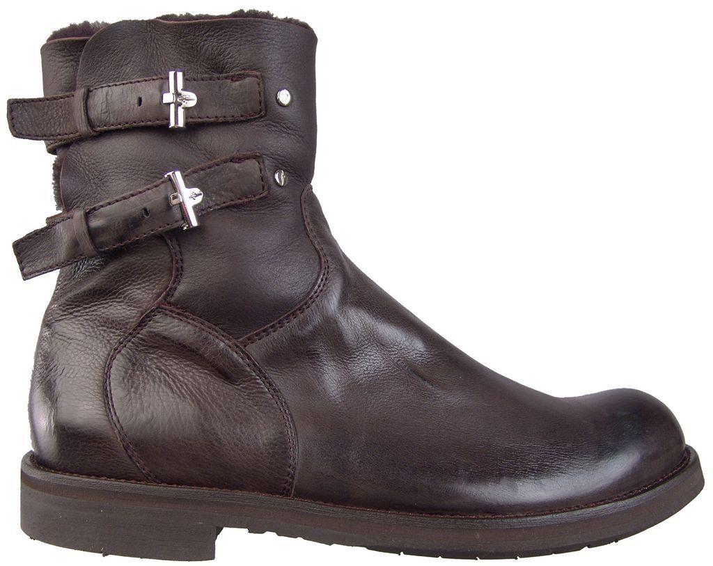 CESARE PACIOTTI Shearling botas De Cuero Zapatos para hombres en EE. UU. 7 Diseñador Italiano