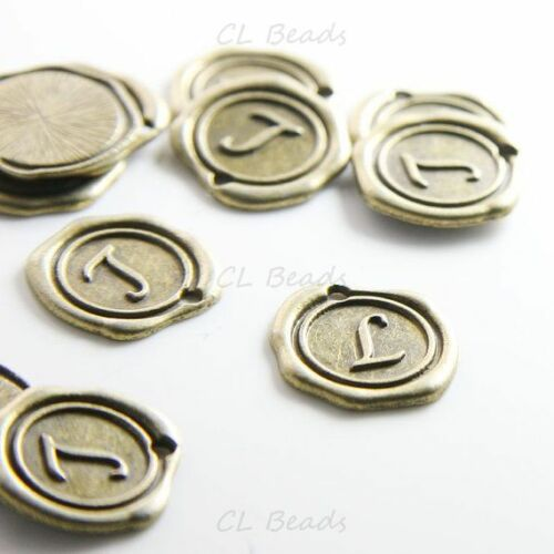 12 Pieces Antique Brass Base Metal Charms-Wax Seal-Letter-Alphabet-L 15706Y