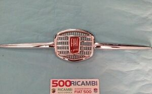 FIAT-500-F-L-R-MASCHERINA-ORIGINALE-CROMATA-LOGO-STEMMA-FIAT-ANTERIORE-CALANDRA