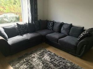 Details about BRAND NEW LUXURY FARELL II FABRIC CORNER SOFA ONLY 5 SEATER  BLACK & GREY