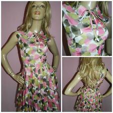 VINTAGE 50s KITSCH PINK GREEN APPLE PRINT BOW FRONT BOX PLEAT DAY DRESS 8-10 S