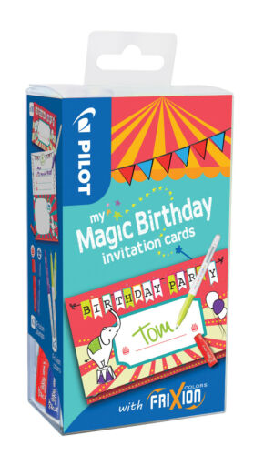 "Pilote My Magic Birthday cards /""CIRQUE/"" Set avec Frixion COLOR Crayon et cachet"