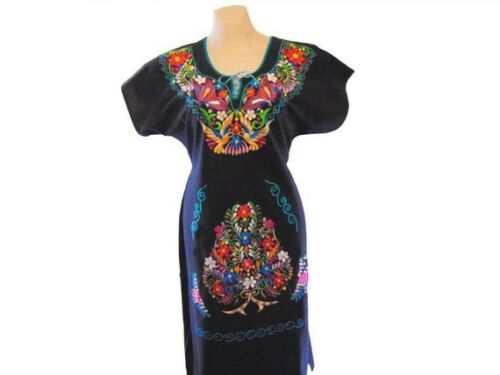 Black  Embroidered Mexican Mexico Womens Dress & … - image 1