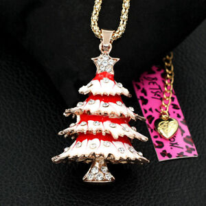 Betsey-Johnson-Red-Enamel-Crystal-Christmas-Tree-Pendant-Sweater-Chain-Necklace