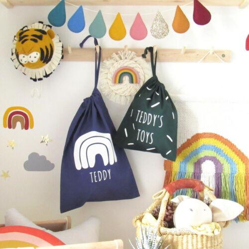 Scandi Decor Personalised Rainbow Toy Storage Bag Kids Gift Ideas Christmas