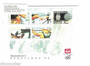 1992-New-Zealand-Olympic-Barcelona-MS-SG1674-overprint-Stamp-Expo-Chicago-MUH