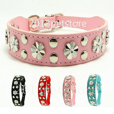 NWE Flower Studded Collar Dog necklace Leather Pet Puppy Cat Collars 4 color M,L