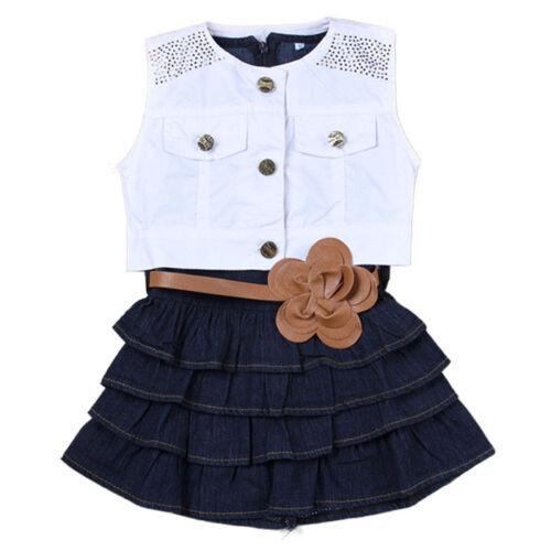 Summer Children Girls Vest Jeans Pleated Dress Jacket Coats Suits With Belt