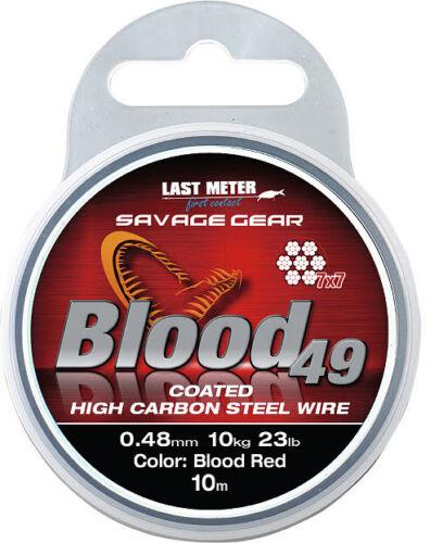 SAVAGE GEAR Blood 49 10m Spule 7x7 Stahlvorfach Coated High Carbon Steel Wire
