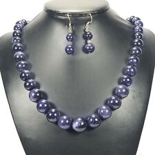 Blue Goldstone Sterling Silver Necklace & Earrings Set Handcrafted Jewellery UK