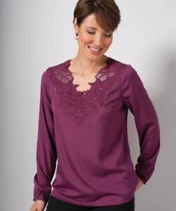 Size Damart Dh182 Uk 12 Blouse Grape Embroidered Rrp Nn 16 £35 qBHBrwt