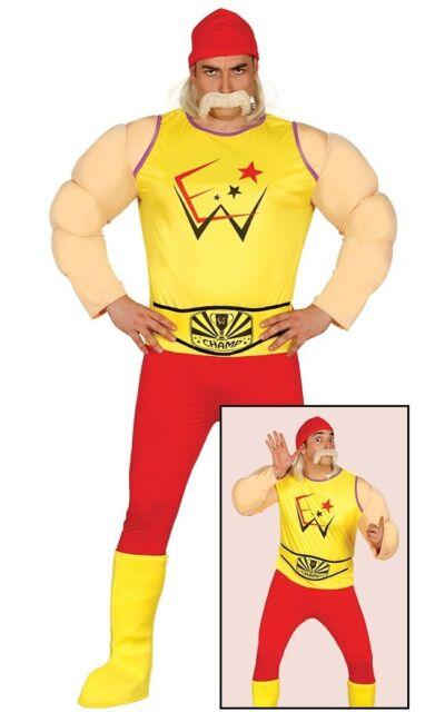 Hogan Fancy Dress Moustache Bandanna Wrestling Icon Belt 80s 90s Stag Halloween