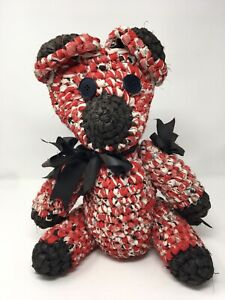 Vintage-Rolled-Rag-Rug-Fabric-Teddy-Bear-Jointed-Red-Black-18-034-Button-Eyes